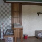 Комната отдыха в бане в процессе ремонта