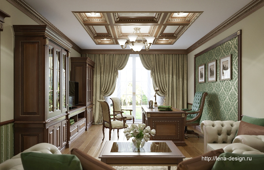 кабинет, дизайн кабинета, классический стиль, lena-design