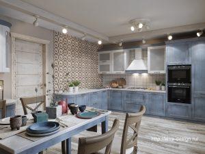 кухня-столовая в загородном доме, прованк , шеби шик.