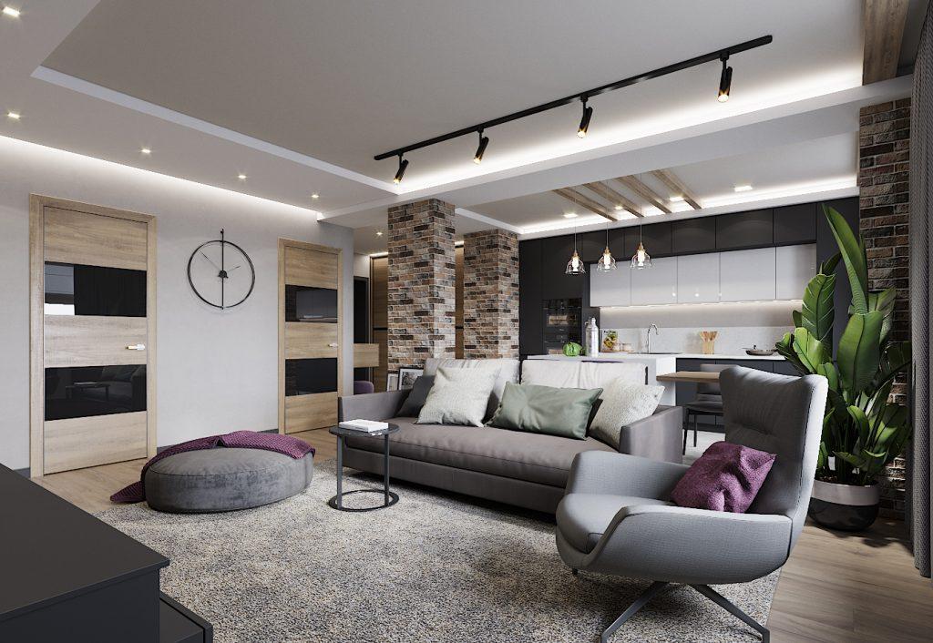 квартира-студия, дизайн гостиной, дизайнпроект, план потолков, дизайн квартиры, ремонт и отдклка
